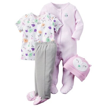 Carter's Baby Girls' 4-Piece Owl Layette Set