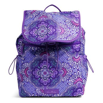 Vera Bradley Lighten Up Lg Drawstring Backpack Lilac Tapestry