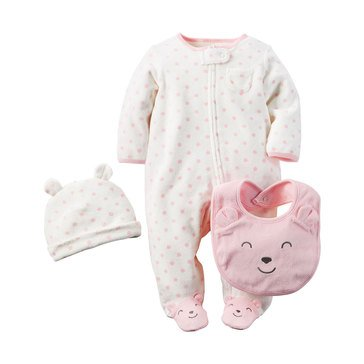 Carter's Baby Girls' 3-Piece Bear Terry Sleep N' Play Set