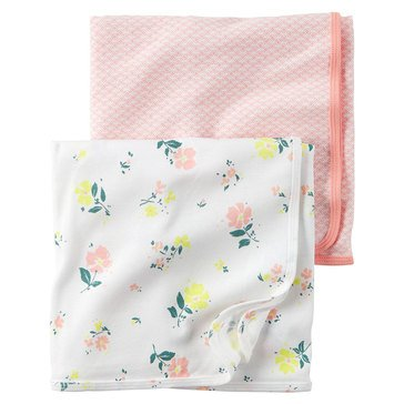 Carter's Baby Girls' 2-Pack Floral Swaddle Blankets