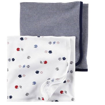 Carter's Baby Boys' 2-Pack Sports Swaddle Blankets