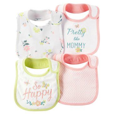 Carter's Baby Girls' 4-Pack Floral Bibs