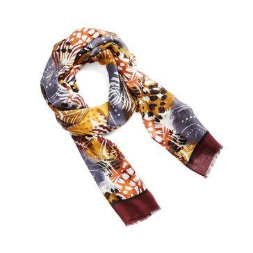 Vera Bradley New Soft Fringe Scarf Painted Feathers