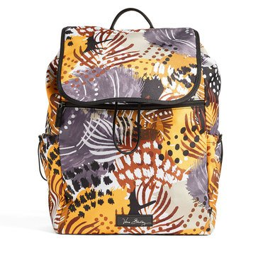 Vera Bradley Lighten Up Lg Drawstring Backpack Painted Feathers