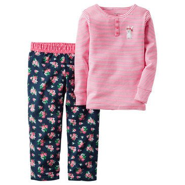 Carter's Big Girls' Flower Stripe 2-Piece Cotton Pajama