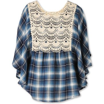 Speechless Big Girls' Plaid Lace Detail Circle Top