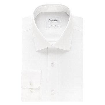 Calvin Klein Regular Fit NI Herringbone Solid Dress Shirt - White