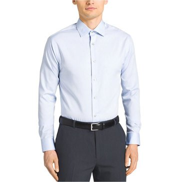 Calvin Klein Regular Fit NI Herringbone Solid Dress Shirt - Blue
