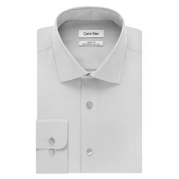 Calvin Klein Regular Fit NI Herringbone Solid Dress Shirt - Smoke