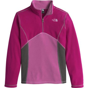 The North Face Big Girls' Glacier 1/4 Zip Fleece, Roxbury Pink