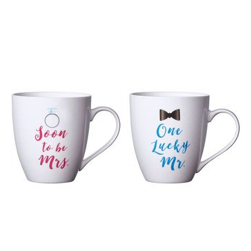 Pfaltzgraff Set of Two Mugs, One lucky Mr./Soon to be Mrs.