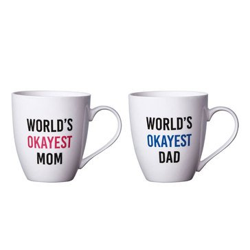 Pfaltzgraff Set or Two Mugs, World's Okayest Mom/Dad