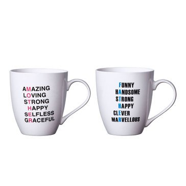 Pfaltzgraff Set of Two Mugs, Mother/Father