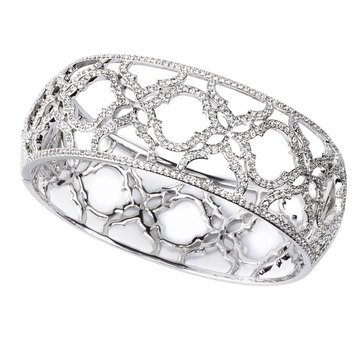 Nadri Silver Tone 'Mandala' Thick Bangle