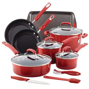 Rachael Ray 14-Piece Porcelain Cookware Set, Red
