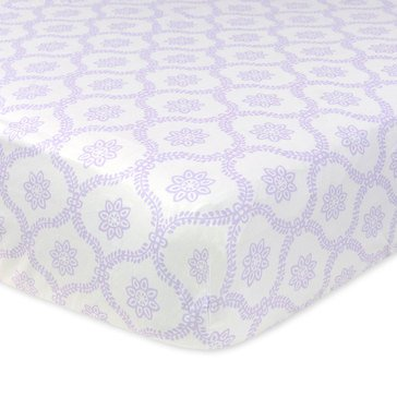 Just Born Fitted Crib Sheet, Trellis Lilac