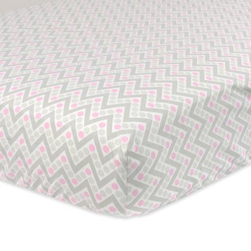 Just Born Fitted Crib Sheet, Pink & Gray Chevron