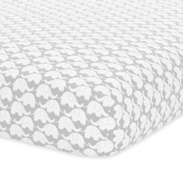 Just Born Elephants Fitted Crib Sheet, Gray & White