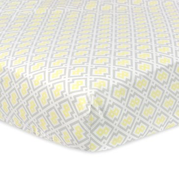 Just Born Fitted Crib Sheet, Yellow & Gray