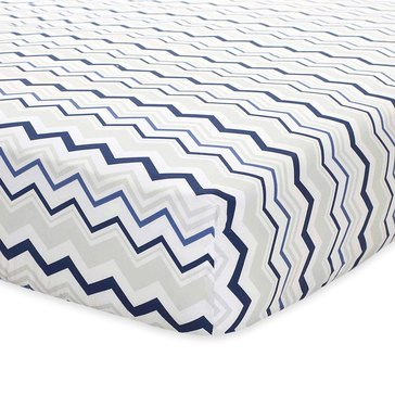 Just Born Fitted Crib Sheet, Navy & Gray Chevron
