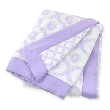 Just Born Reversible Hampton Valboa Blanket W/ Satin Binding, Lilac Trellis