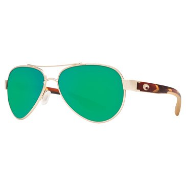 Costa Unisex Loreto Polarized Sunglasses, Rose Gold/ Green Mirror 580P 56.5mm
