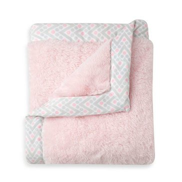 Just Born Plush Blanket, Pink & Gray