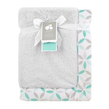 Just Born Plush Blanket, Gray & Aqua