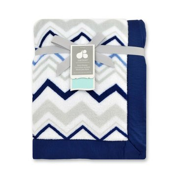 Just Born Reversible Valboa Blanket W/ Satin Binding, Navy Chevron