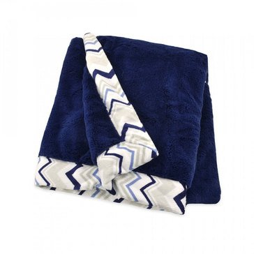Just Born Plush Blanket, Navy Chevron