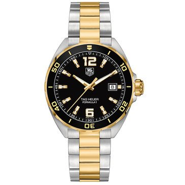 Tag Heuer Men's Formula 1 Qrtz Alarm And Gold Black Dial Watch 41mm