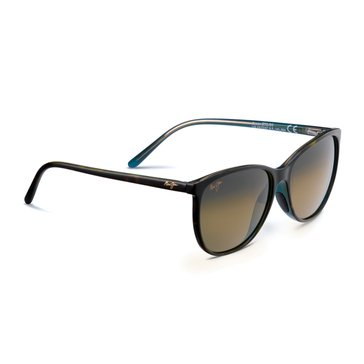 Maui Jim Women's Ocean Polarized Sunglasses HS723-10P, Tortoise with Peacock Interior 57mm