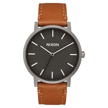 Nixon Men's Porter Charcoal/ Gunmetal/ Taupe Leather Watch, 40mm