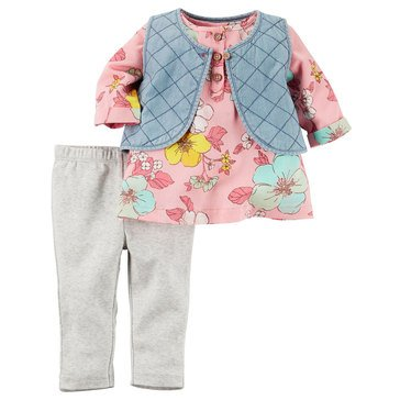 Carter's Baby Girls' Chambray 3-Piece Vest Set