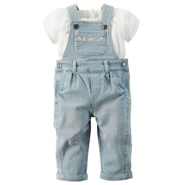 Carter's Baby Girls' Embroidered 2-Piece Overall Set