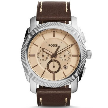 Fossil Men's Machine Leather Strap Watch 45mm