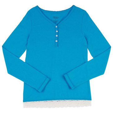 French Toast Toddler Girls' Basic Lace Hem Henley Top