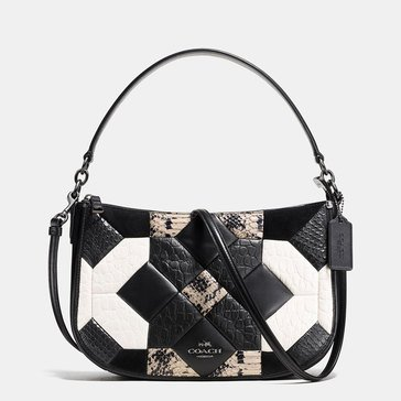 Coach Canyon Quilt Exotic Chelsea Crossbody Black/Chalk