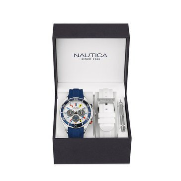 Nautica Men's Chronograph Watch With Interchangeable Silicone Straps Boxed Set 46mm
