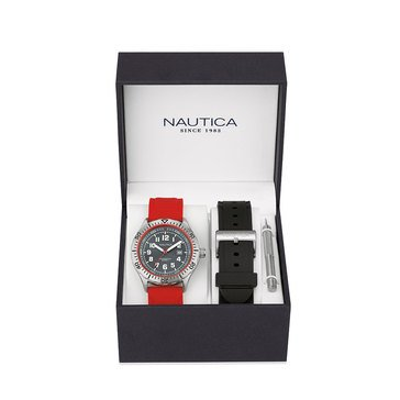 Nautica Men's Watch With Interchangeable Silicone Straps Boxed Set 44mm