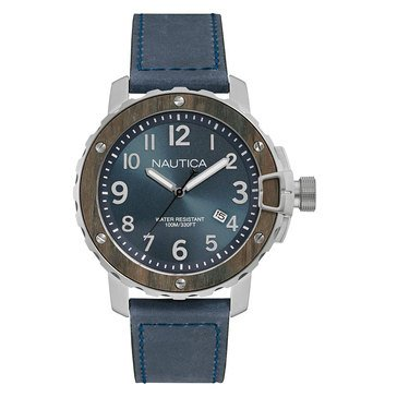 Nautica Men's Leather Strap Watch 45mm