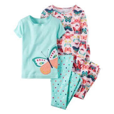 Carter's Toddler Girls' Butterfly 4-Piece Cotton Pajama Set