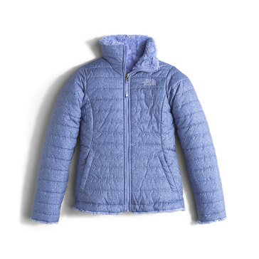 The North Face Big Girls' Mossbud Swirl Jacket, Grapemist Blue Denim Print