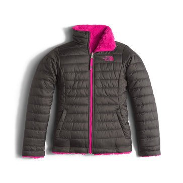 The North Face Big Girls' Mossbud Swirl Jacket, Graphite Grey Caberet Pink
