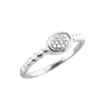 Diamond Oval Ring, Sterling Silver