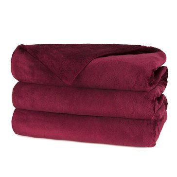 Sunbeam Quilted Fleece Electric Blanket, Garnet - Queen
