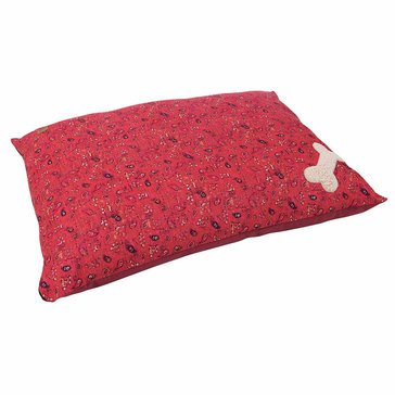 Mutt Nation Pillow Bed, Red Bandana Print, 27x36