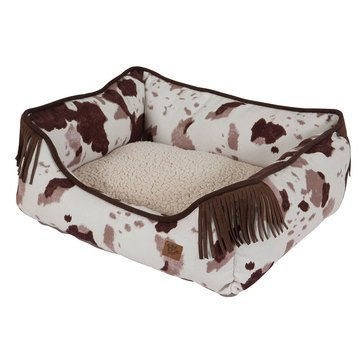 Mutt Nation Lounger, Brown Cowhide Print, 20x17