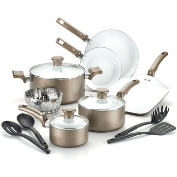 T-Fal Celebrate 14-Piece Ceramic Cookware Set, Champagne