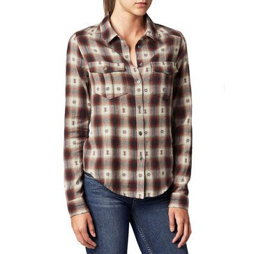 Paige Long Sleeve Plaid Mya Dusty Brown/Scarlet Combo Shirt/